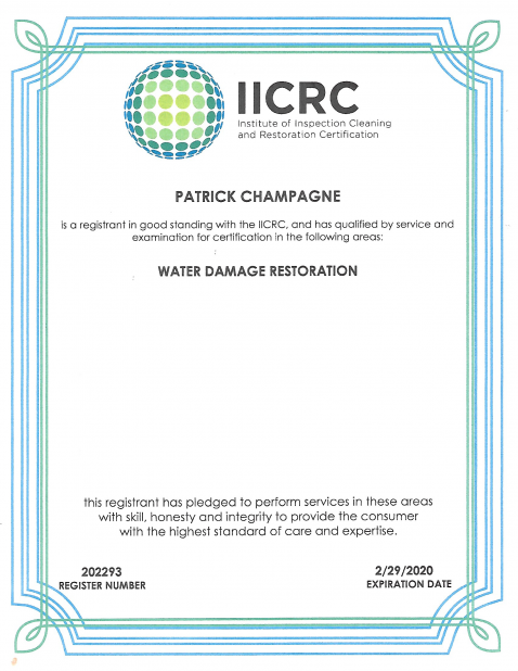 IIRC water damage restoration technician
