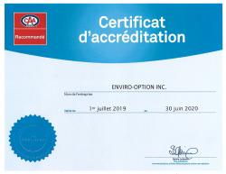 Enviro-Option CAA accréditation 2019-2020